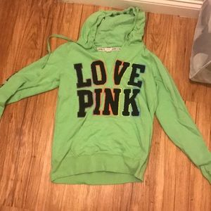 Lime green and rainbow pink sweatshirt